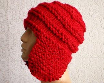 Red earflap hat, trapper cap, hiking runner biker, ski snowboard, winter hat, knit toque, skateboard toboggan, mens womens hat, chemo cap