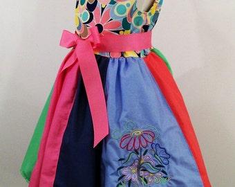 Girls Jumper Dress, Floral Top Stripwork Dress, Handmade Boutique Clothing, Embroidered, Appliqued, Little Girls Dress, Made in USA, #359