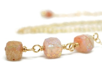Sunstone Wire Wrapped Necklace, Gifted Collection, Gold Filled, Orange, AB Finish, Chain, Adjustable Lariat, Drop Pendant