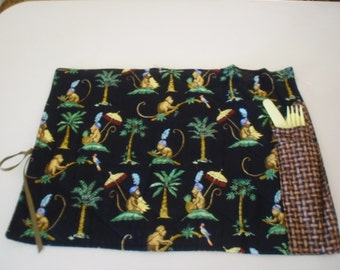 Colorful Cotton Quilted Placemat with Cloth Napkin and Plastic Utensils #11