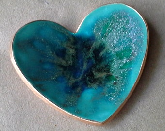 Ceramic Ring Dish Malachite GREEN gold edged engagement ring holder