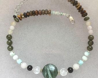 Angels' Shield Seraphinite Multi Gemstone Power Statement Necklace