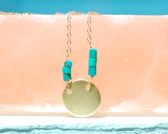 FRAGMENT - CIRCLE abstract necklace sterling silver or 14kt gold vermeil with turquoise beads handcrafted by artisan Chocolate and Steel