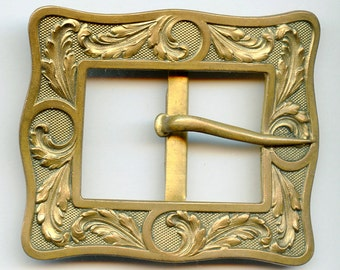 Large ART NOUVEAU French Belt Buckle Cast Brass Slide One Piece France  Vintage Antique Edwardian 1784