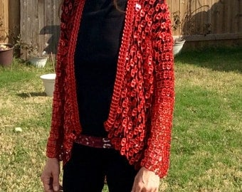Red Pull Tab Crochet Jacket