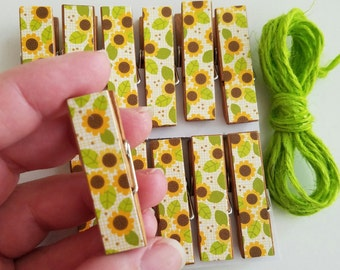 Sunflowers Chunky Little Clothespin Clips w Twine for Display -  Set of 12 - Gifts Under 10