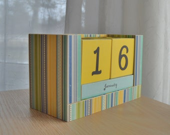 Perpetual Wooden Block Calendar - Stripes - Yellow Blue Moss and More
