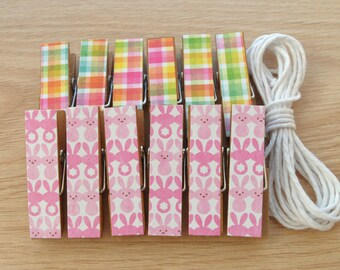 Bunnies and Spring Plaid Clips w Twine for Photo Display - Chunky Little Clothespin Set of 12