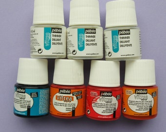 Pebeo Vitrea 160 water based glossy transparent glass paint + diluent, part used