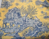 Vintage cotton decorator weight yellow and indigo  blue toile, screen printed, Textile America Fabrics, fishing, cabin, women children, men