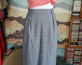 Vintage Blue and White Plaid Skirt with Belt Loops Plus Size