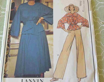 Vintage Vogue Paris Original 1206 Lanvin Misses Top Skirt Pants and Sash Sewing Pattern size 10 B 32.5