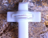 White Fused Glass Cross Pendant With Black Silk Necklace