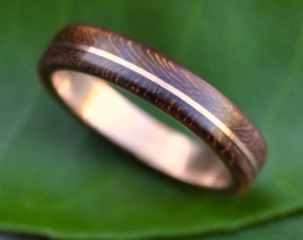 Wood Ring Rose Gold Asi Nacascolo -  ecofriendly wood wedding band with recycled 14k rose gold, red gold wood ring, pink gold wood ring