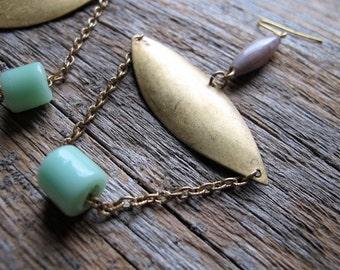 Chandelier Earrings, Brass Earrings, Glass Earrings, Mint Green Earrings