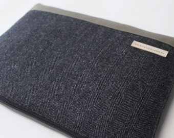 Laptop Case, Surface 3 or Surface Pro 4 Sleeve, Surface Book Cover Laptop Sleeve - Gray Herringbone Wool