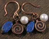Lapis lazuli stone, white freshwater pearls and copper handmade earrings