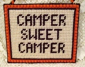 Plastic Canvas ** Camper Sweet Camper ** Wall Hanging / RV Home Decor / Needlecraft