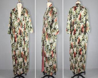 vintage kimono / silk robe / IN THE WOODS / mid century tree kimono