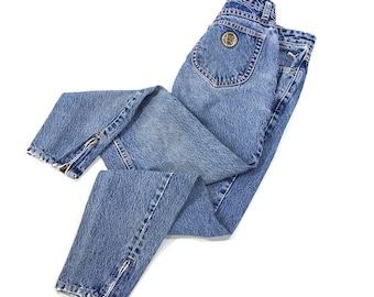 80s Acid Wash Jeans / Vintage Peg Leg High Waist Ankle Length Jeans by Puma / Pink Decorative Stitching