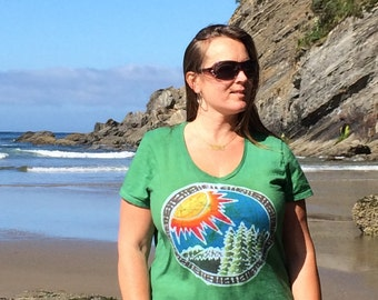 Womens Hand Painted Batik Circle Sun and Mountain Shirt