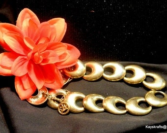 Trifari Gold Necklace, 22 Inch Trifari Choker Necklace, Signed Trifari Gold Necklace, Gift For Her
