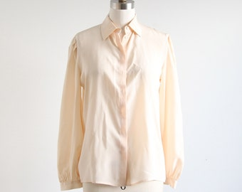 Vintage Peach Silk Button Down Blouse
