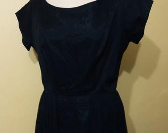 SALE 1950s Slim Black Chiffon Dress with Gathered Details on Skirt Vintage Medium Size Bust 36 Waist 28 Hip 42 Rockabilly Mad Men VLV
