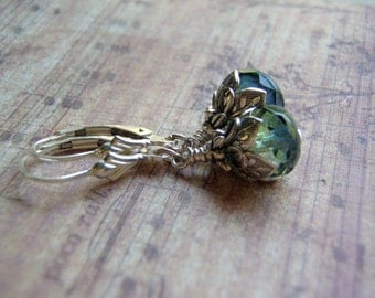 Sea Witch Earrings .925 Sterling Silver Lever Back Ear Wire 9 x 6 mm Blue and Green Glass Dangle Handmade