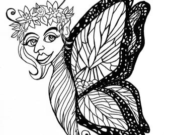 Adult Coloring Page Clip Art 8x8 300 Dpi Jpg Litha Pagan Fantasy Fairy Monarch Butterfly Wings