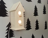 Handmade Bird House Nightlight in Bright White. Altered vintage mold updated in beautiful modern color. Light up your nursery!