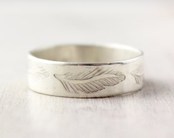 Feather Stamped Silver Band Ring