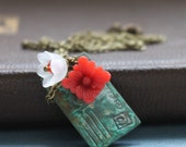 Postcard Love Letter Necklace, Flowers and Notes, Valentines, Red and Turquoise, Gifts For Her, Valentines Day