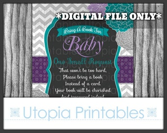 Flower Baby Shower Book Request Card Insert Teal Purple Gray Chevron Floral Theme Digital Printable Grey Aqua Blue Turquoise