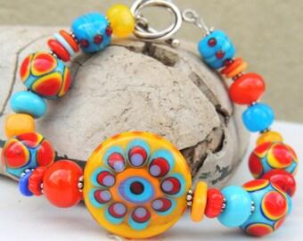 Sassy Handmade Lampwork Bead Bracelet