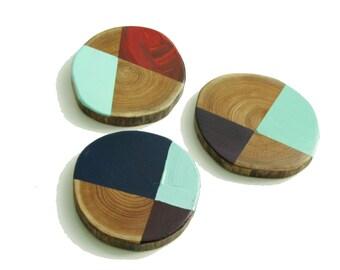Mid Century Modern Art on Repurposed Wood, Three Original Paintings, Colorful Art on Wood, Wood Wall Art, Rustic Cabin Art, T4