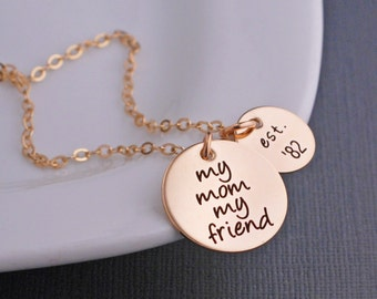 Mom Necklace, My Mom My Friend Necklace, Gift for Mom, Personalized Christmas Gift