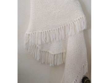 Knitted white shawl