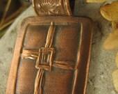 Saint Brigid's Cross Spiral in Copper, Rectangle Pendant, Cross Jewelry Necklace, Faith Jewelry