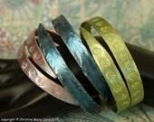 SMASHED aluminum metal knitting needle BANGLES with Spirals... fun vintage boho gypsy style bracelet