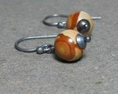 Jasper Earrings Desert Sand Jasper Earrings Minimalist Earrings Oxidized Sterling Silver Earrings Brown Earrings