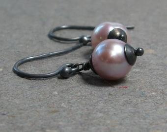Pink Pearl Earrings Petite Pearl Earrings Oxidized Sterling Silver June Birthstone Earrings