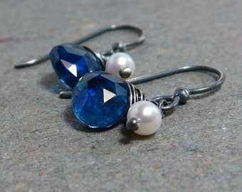 Kyanite Earrings White Pearl Earrings Oxidized Sterling Silver Earrings Drop Earrings Gift for Her