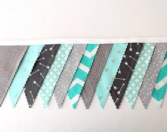 Gray Teal Arrows baby Shower Bunting party decoration. Fabric Banner. Photo prop 12 Pennant Birthday flags dessert table. Aqua metallic gray