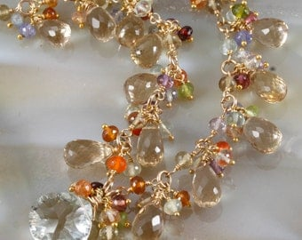 Champagne Citrine Green Amethyst Necklace