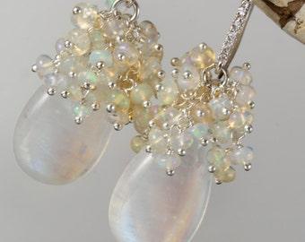 Rainbow Moonstone, Ethiopian Opal, Cluster, Drop,  Dangle, Gemstone, Silver, Earrings
