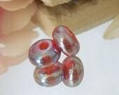 Handmade Luster Artisan Lampwork Glass Round Bead Pair SRA DIY-Bastets Beads- Ruby Luster