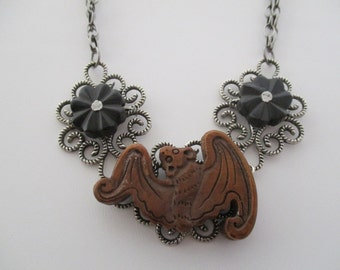Carved Wood Bat and Flowers Gthic Filigree Necklace