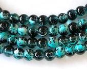 Aqua and Black Beads,  8mm Round Glass Beads, Two Tone Beads, 50 Beads