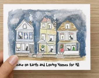 Loving Homes for All Holiday Recycled Paper Folded Greeting Card